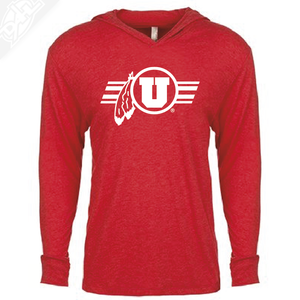 Circle and Feather w/Utah Stripe Single Color - T-Shirt Hoodie