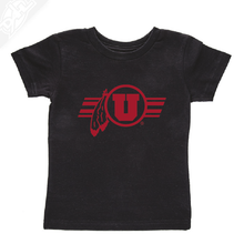Load image into Gallery viewer, Circle and Feather w/Utah Stripe Single Color- Infant/Toddler Shirt