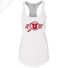 Load image into Gallery viewer, Circle and Feather w/Utah Stripe Single Color- Womens Tank Top
