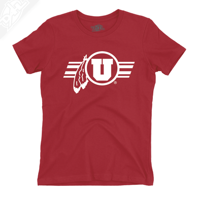 Circle and Feather w/Utah Stripe Single Color - Womens T-Shirt