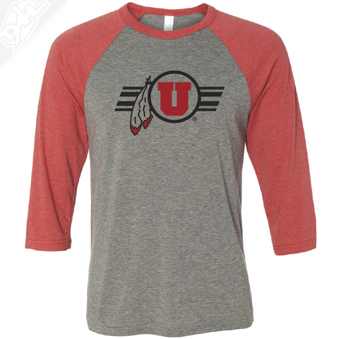 Circle and Feather w/Utah Stripe - 3/4 Sleeve Baseball Shirt