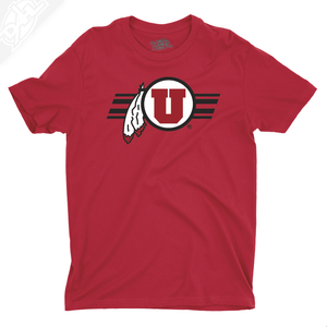 Circle and Feather w/Utah Stripe - Mens T-Shirt