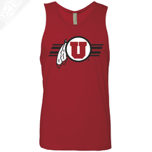 Load image into Gallery viewer, Circle and Feather w/Utah Stripe- Mens Tank Top