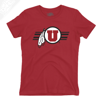Circle and Feather w/Utah Stripe - Womens T-Shirt