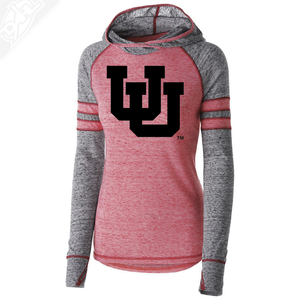 Interlocking UU Single Color - Womens Red Advocate Hoodie