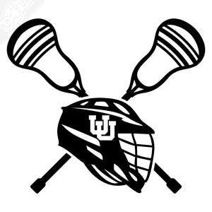 Lacrosse Helmet and Sticks - Lacrosse Vinyl Decal