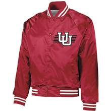 Load image into Gallery viewer, Youth Red Satin Baseball Jacket