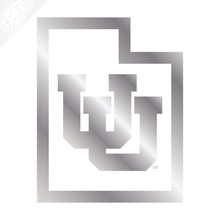 Load image into Gallery viewer, Interlocking UU State Outline - Vinyl Decal