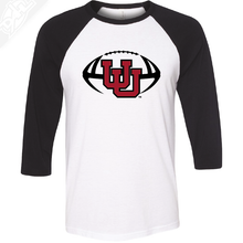 Load image into Gallery viewer, Interlocking UU Football - 3/4 Sleeve Baseball Shirt