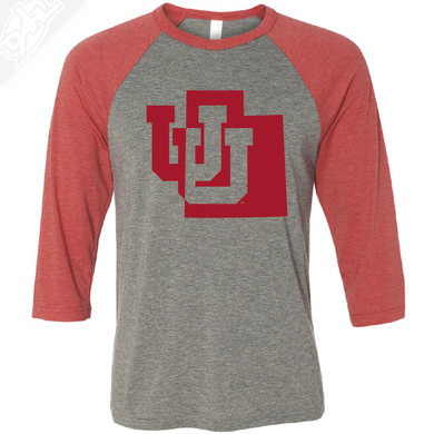Interlocking UU State - 3/4 Sleeve Baseball Shirt