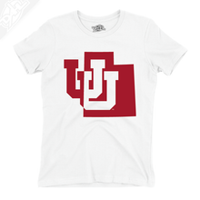 Load image into Gallery viewer, Interlocking UU State - Womens T-Shirt