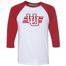 Interlocking UU w/Utah Stripe Single Color - 3/4 Sleeve Baseball Shirt