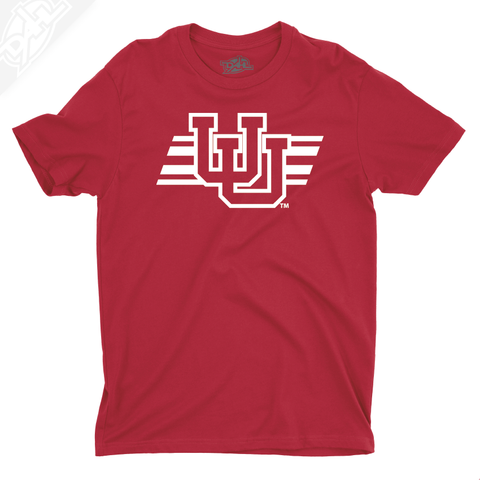 Interlocking UU w/Utah Stripe Single Color - Mens T-Shirt
