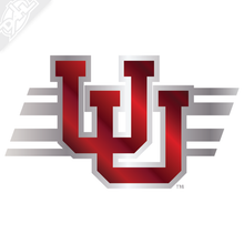 Load image into Gallery viewer, Interlocking UU - Utah Stripe 2 Color Chrome Vinyl Decal