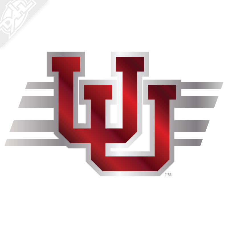 Interlocking uu utah stripe 2 color chrome vinyl decal