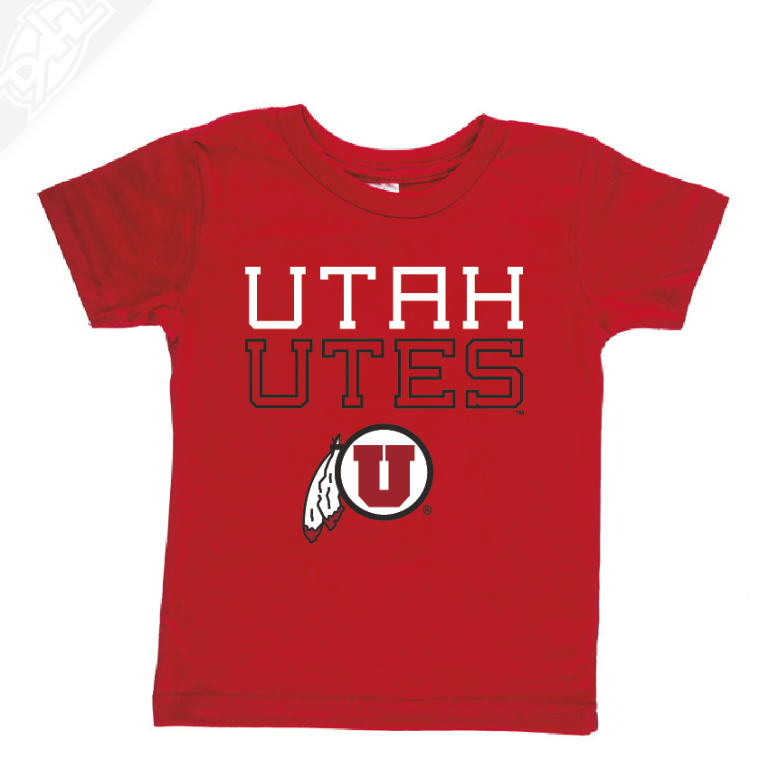 Utah Utes Outlined Circle and Feather- Infant/Toddler Shirt
