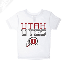 Load image into Gallery viewer, Utah Utes Outlined Circle and Feather- Infant/Toddler Shirt