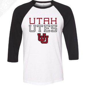 Utah Utes Outlined Interlocking UU - 3/4 Sleeve Baseball Shirt