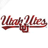 Utah Utes Script with Interlocking UU Vinyl Decal
