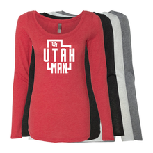 Load image into Gallery viewer, Utah Man - State -  Womens  Long Sleeve