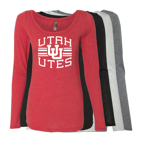 Utah Utes Arch - Interlocking UU -  Womens  Long Sleeve