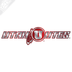 Utah Utes - Circle in Feather 2 Color Chrome Vinyl Decal