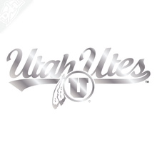 Utah Utes Circle and Feather Script Vinyl Decal