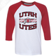 Utah Utes Wordmark Circle and Feather - 3/4 Sleeve Baseball Shirt