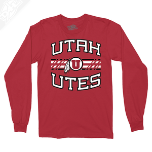 Utah Utes Wordmark Circle and Feather - Long Sleeve