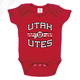 Utah Utes Wordmark Circle and Feather - Onesie