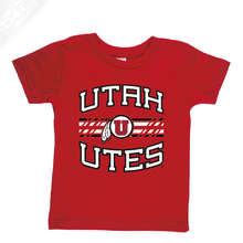 Load image into Gallery viewer, Utah Utes Wordmark Circle and Feather- Infant/Toddler Shirt