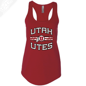 Utah Utes Wordmark Circle and Feather- Womens Tank Top