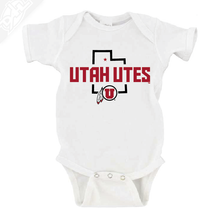 Load image into Gallery viewer, Utah Utes State w/Circle and Feather - Onesie