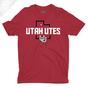 Utah Utes State w/Interlocking UU - Mens T-Shirt