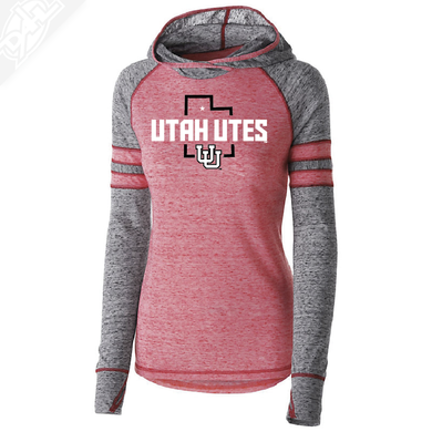 Utah Utes State w/Interlocking UU - Womens Red Advocate Hoodie