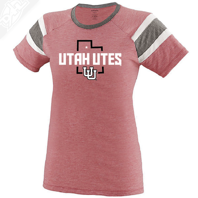 Utah Utes State w/Interlocking UU - Womens Fanatic Tee