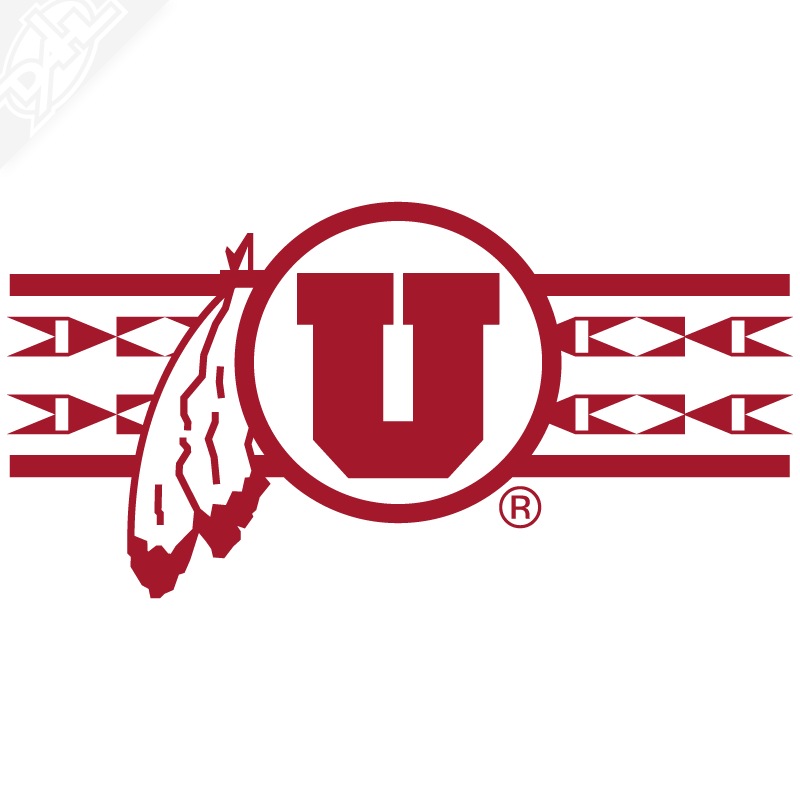 Ute Proud Circle and Feather With Utah Stripe Single Color Vinyl Decal