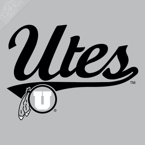 Utes Script - Circle and Feather 2 Color Vinyl Decal