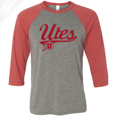 Utes Script - 3/4 Sleeve Baseball Shirt