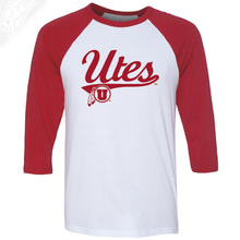 Load image into Gallery viewer, Utes Script - 3/4 Sleeve Baseball Shirt