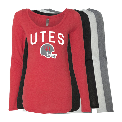Utes Gray Throwback Helmet - State -  Womens  Long Sleeve