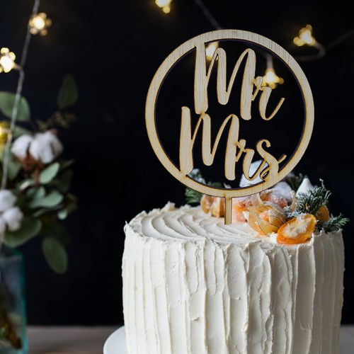 Mr & Mrs Wood Cake Topper / Personalized Cake Topper