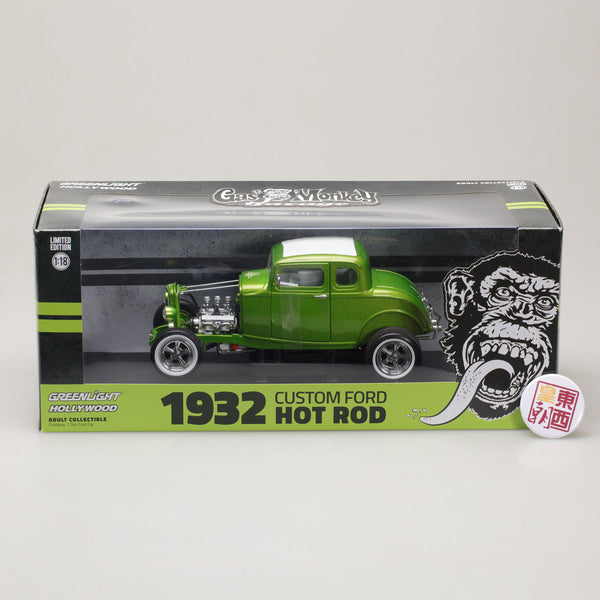 GreenLight 1:18 Gas Monkey Garage (2012-Current TV Series) - 1932 Custom Ford Hot Rod - Metallic Green with Chrome 5-Spoke Wheels, Whitewall Tires 12974