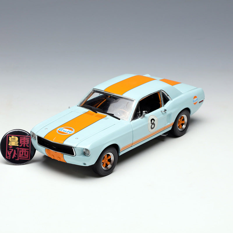 GreenLight 1:18 1967 Ford Mustang Coupe Gulf Oil - Light Blue with Orange Stripes Diecast Model Car 12989