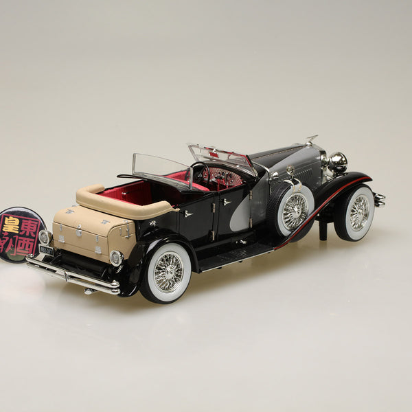 GreenLight 1:18 Duesenberg II SJ - Silver and Black Diecast Model Car 13504