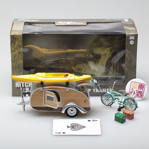 GreenLight 1:24 Hitch & Tow Trailers - Teardrop Trailer with Roof Rack, Bicycle, Kayak, Cooler and Picnic Basket 18430-A