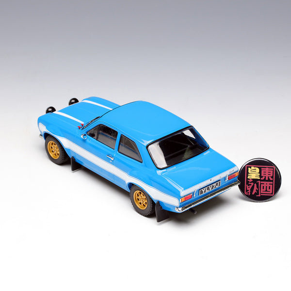 GreenLight 1:18 Artisan Collection - Fast & Furious 6 (2013) 1974 Ford Escort RS2000 Mk1 - Blue w/White Stripes Diecast Model Car 19038