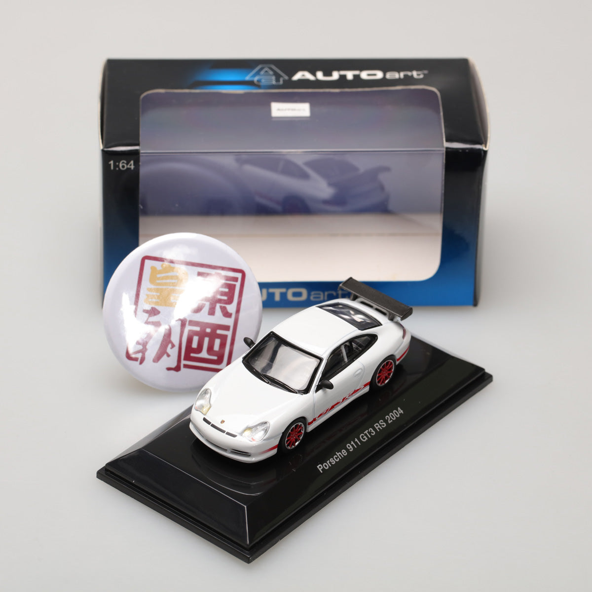 AUTOART 1:64 PORSCHE 911 GT3 RS 2004 - WHITE (RED STRIPE ON TWO SIDES) 28031
