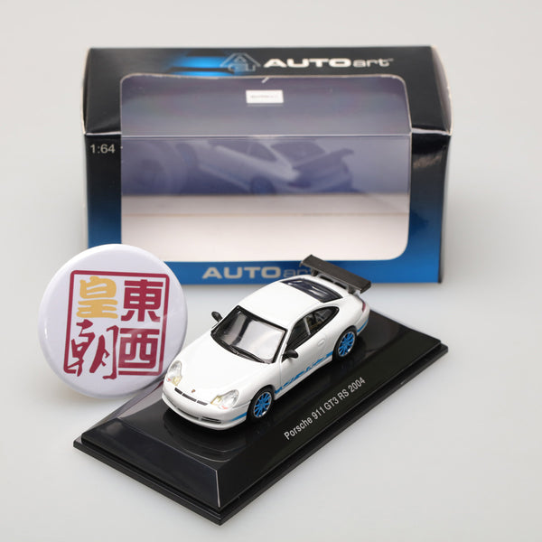 AUTOART 1:64 PORSCHE 911 GT3 RS 2004 -WHITE (BLUE STRIPE ON TWO SIDES) 28032