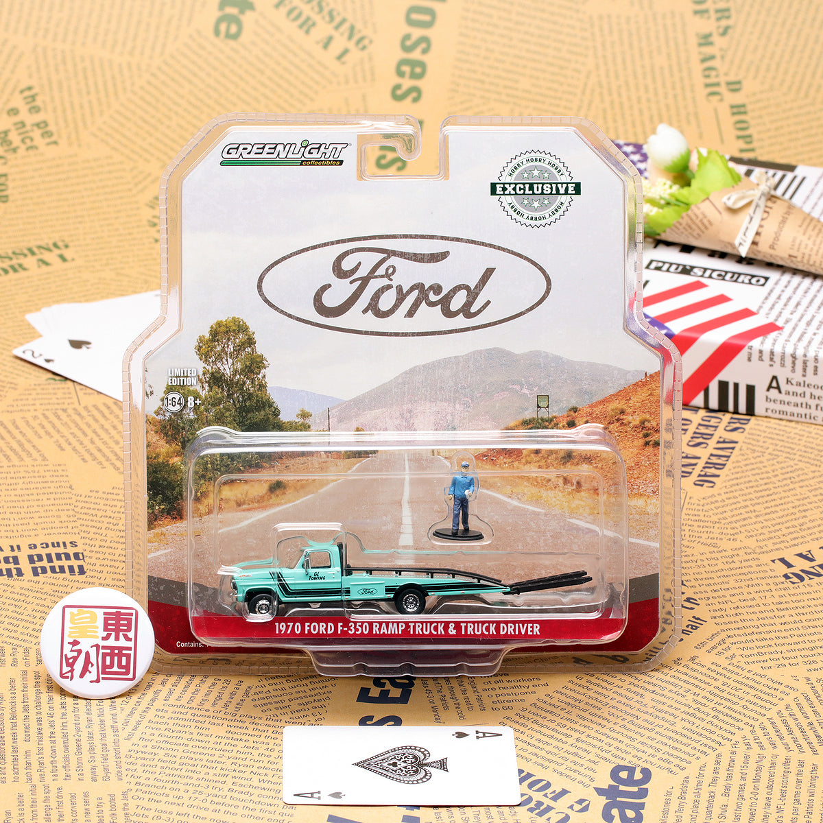 GreenLight 1:64 1967-72 Ford F-350 Ramp Truck with Truck Driver Figure Diecast Model Car 29892